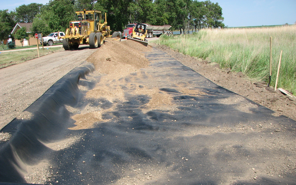 park_road_reconstruction_expansion_geotextile_fabric_grader